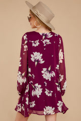 8 Go Out In Style Red Plum Floral Print Dress at reddressboutique.com