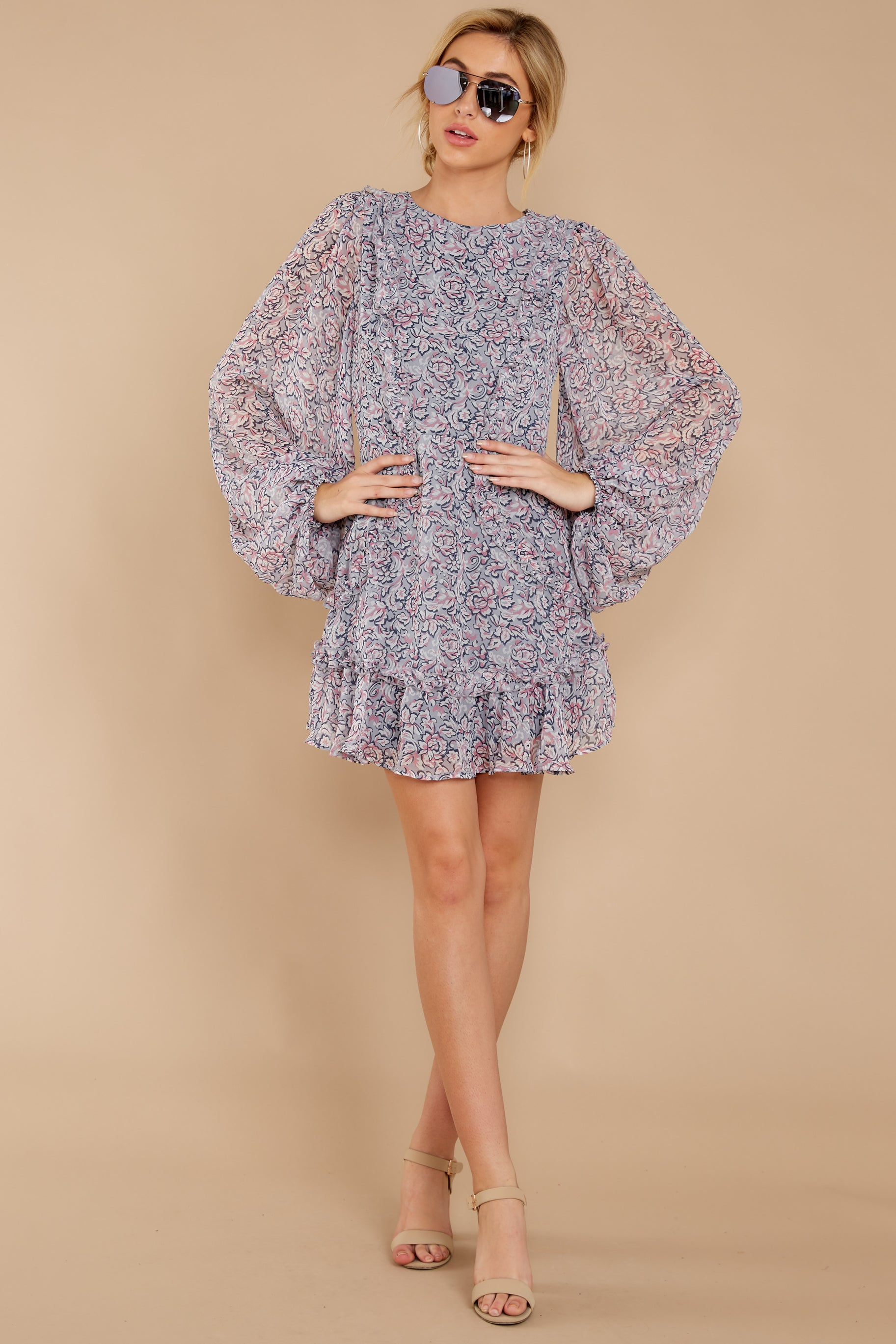 Timeless Grace Pink Multi Floral Print Dress