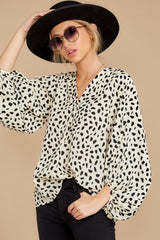 5 On Alert Cream Cheetah Print Top at reddress.com