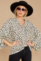 6 On Alert Cream Cheetah Print Top at reddress.com