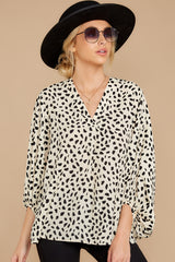 7 On Alert Cream Cheetah Print Top at reddress.com