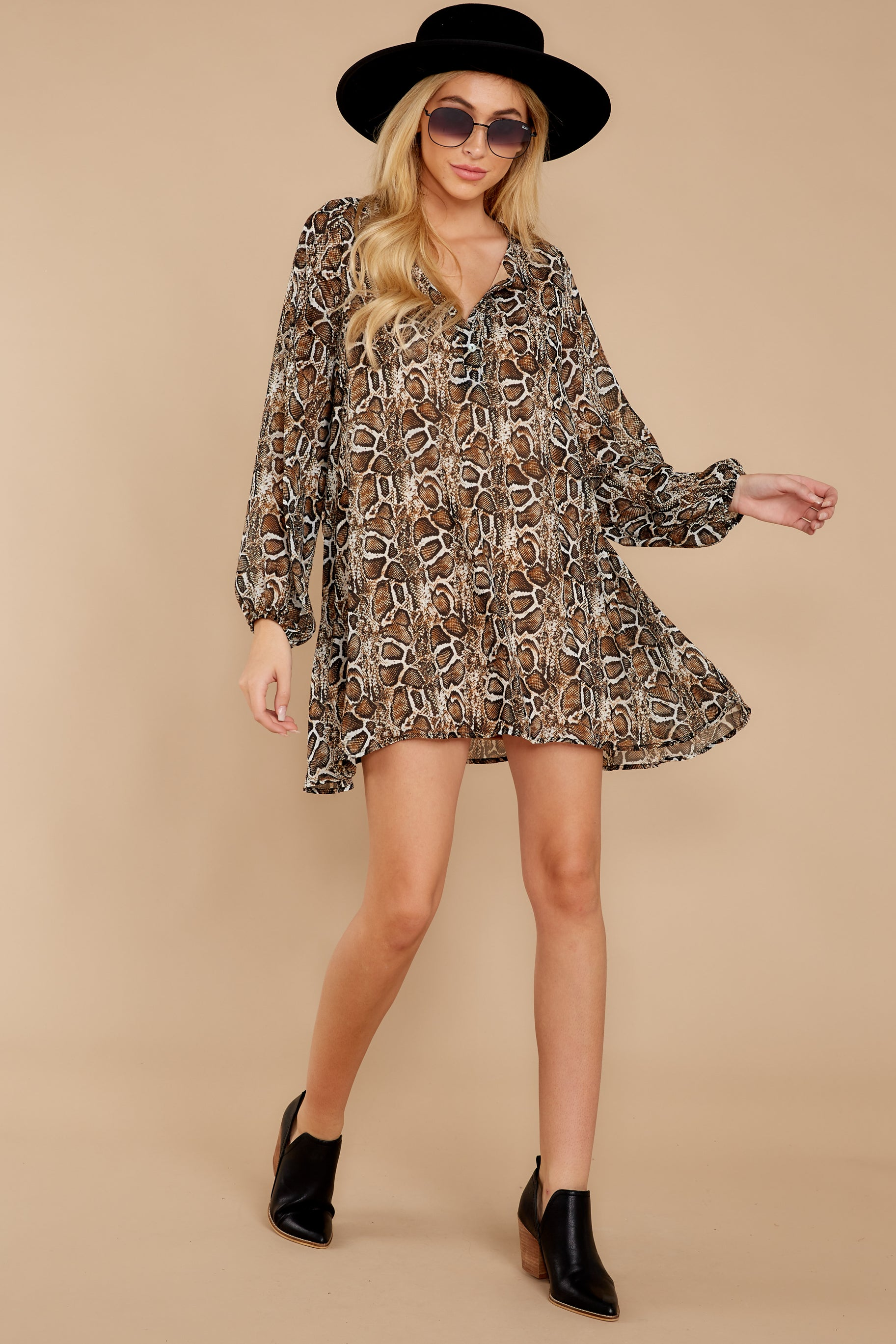 2 Go Out In Style Brown Python Print Dress at reddressboutique.com