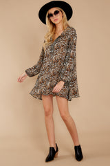 3 Go Out In Style Brown Python Print Dress at reddressboutique.com