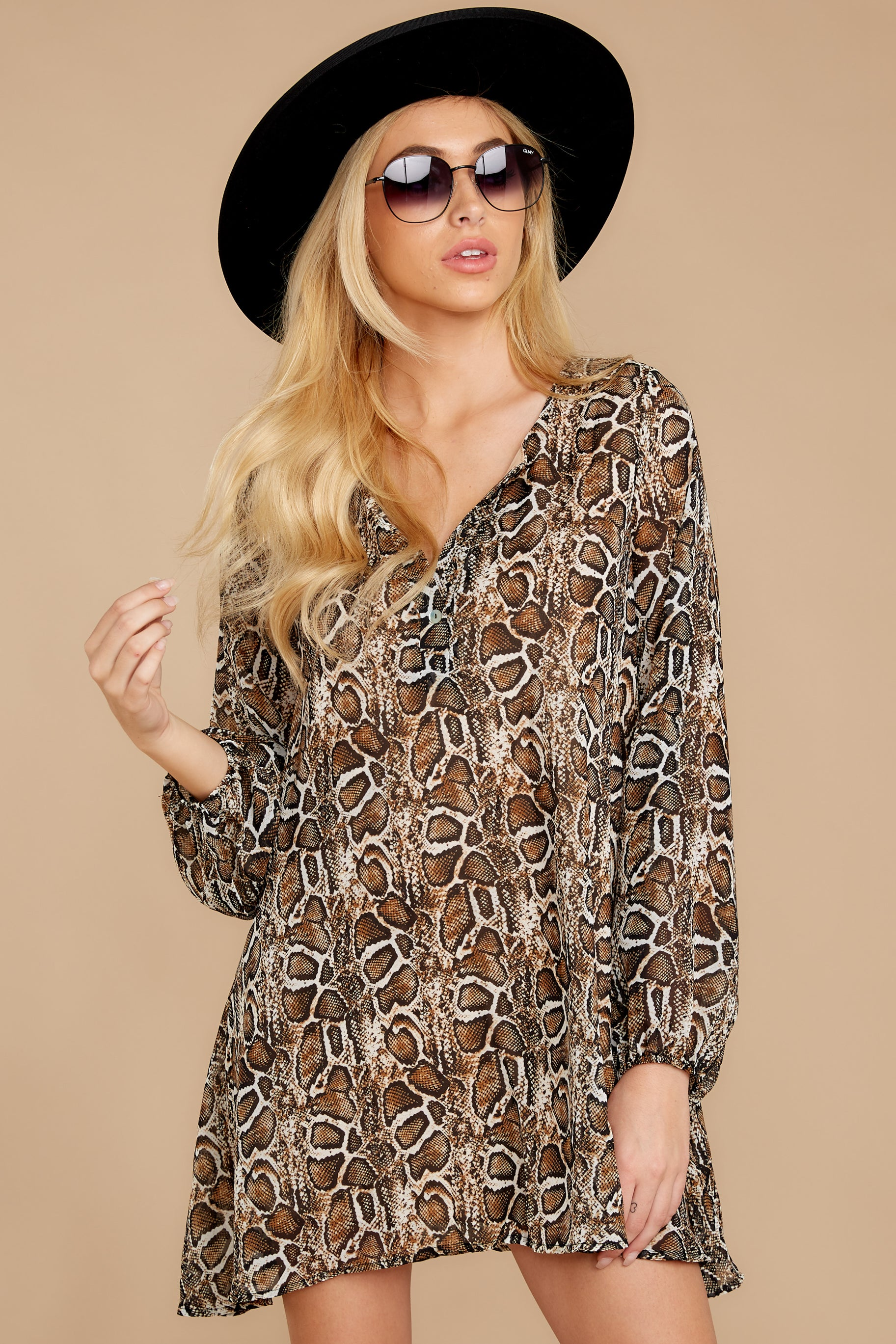 4 Go Out In Style Brown Python Print Dress at reddressboutique.com