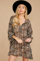 5 Go Out In Style Brown Python Print Dress at reddressboutique.com