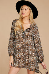 6 Go Out In Style Brown Python Print Dress at reddressboutique.com
