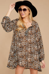7 Go Out In Style Brown Python Print Dress at reddressboutique.com