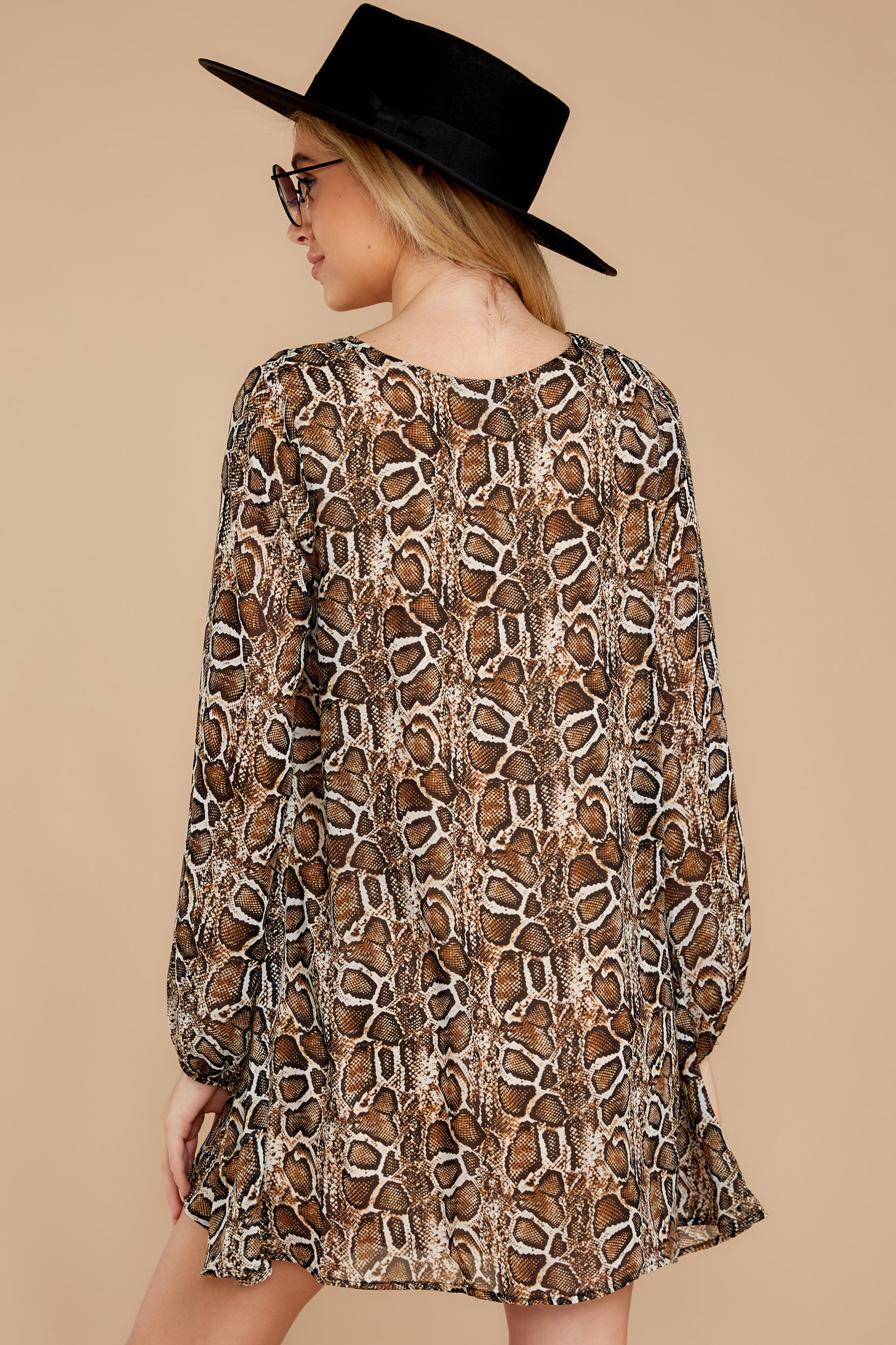8 Go Out In Style Brown Python Print Dress at reddressboutique.com