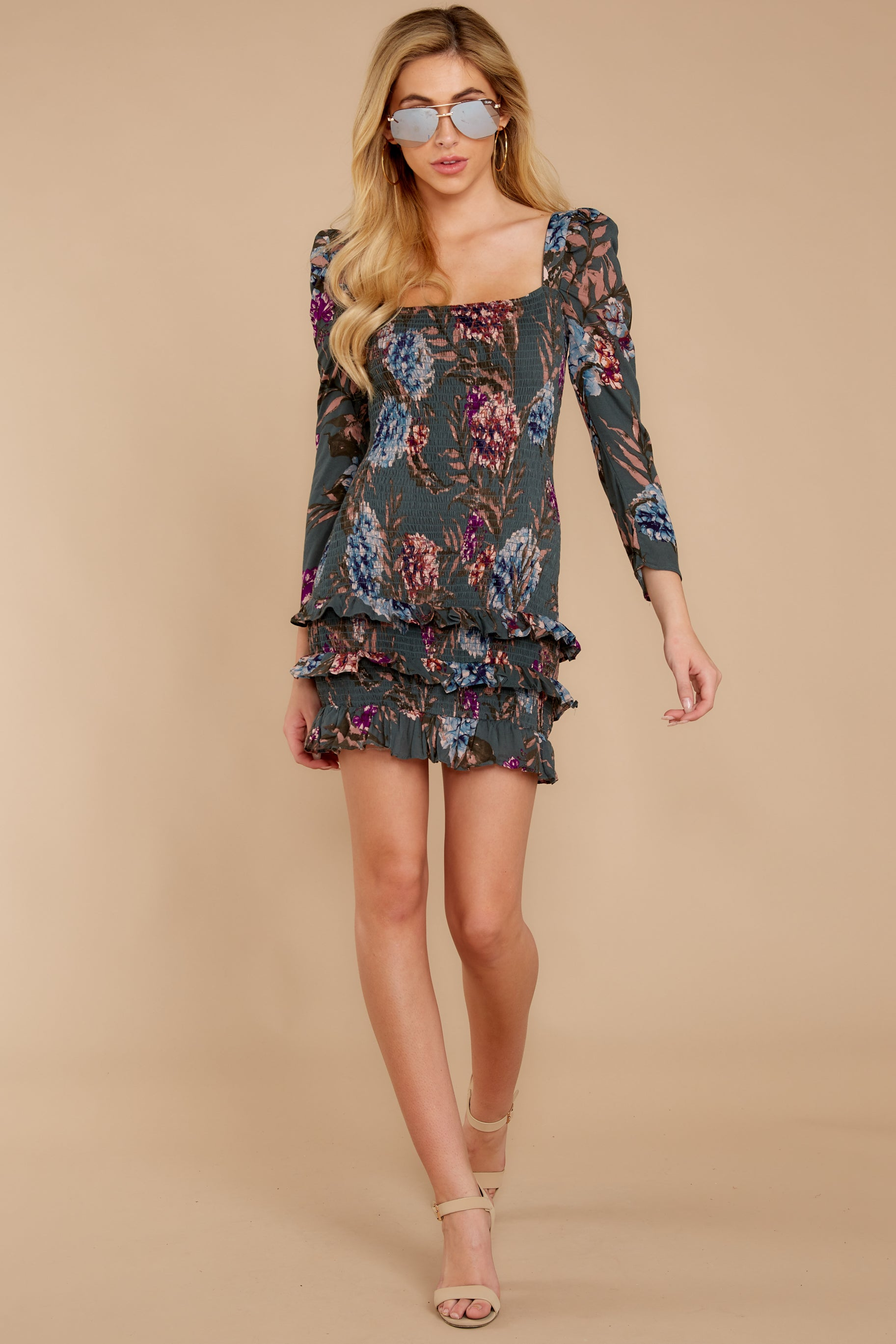 3 Know It Well Dark Green Floral Print Dress at reddressboutique.com