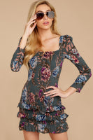 Straight Neck Gathered Shirred Rayon Floral Print Bubble Dress Dress With Ruffles