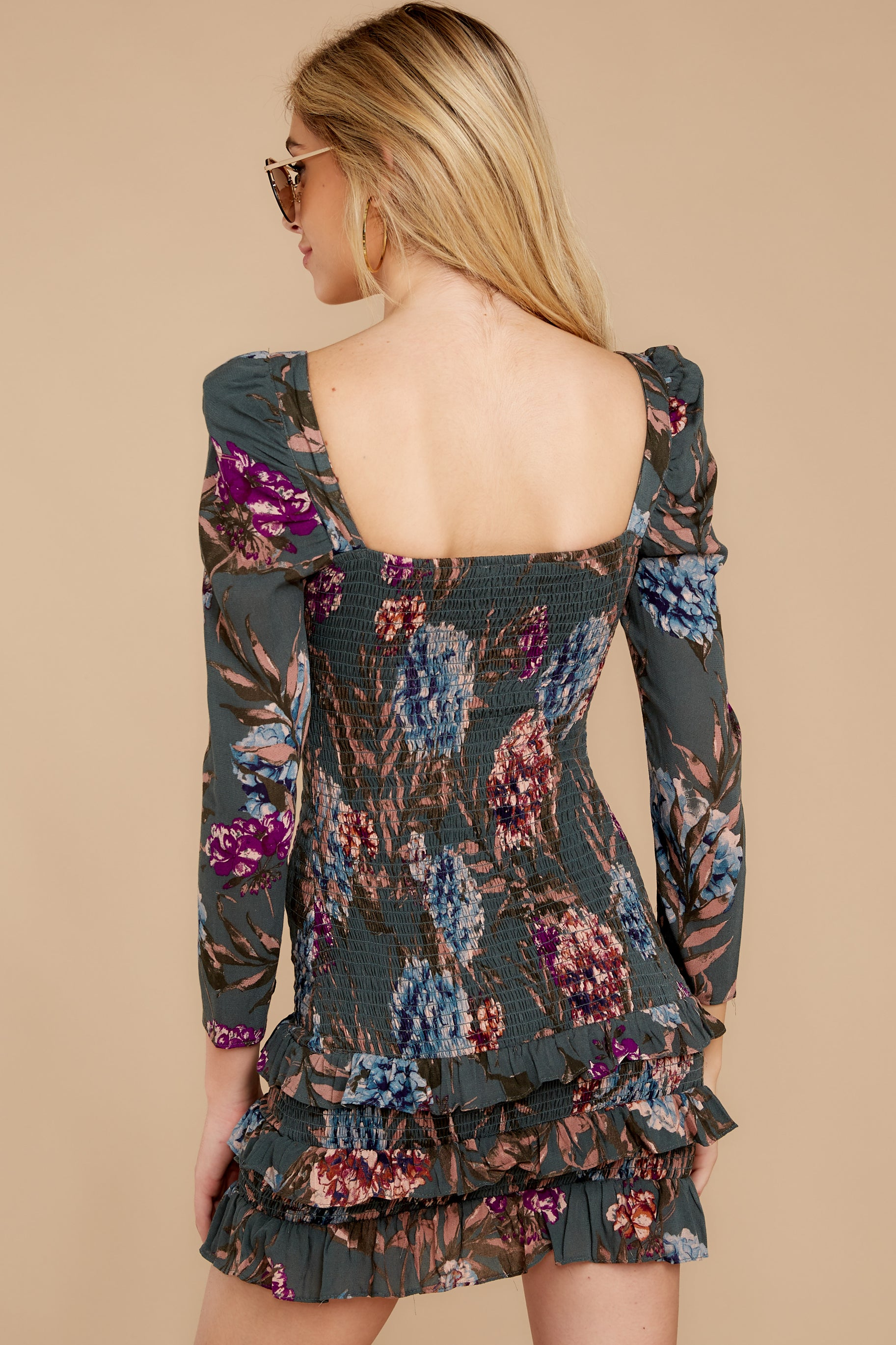 8 Know It Well Dark Green Floral Print Dress at reddressboutique.com