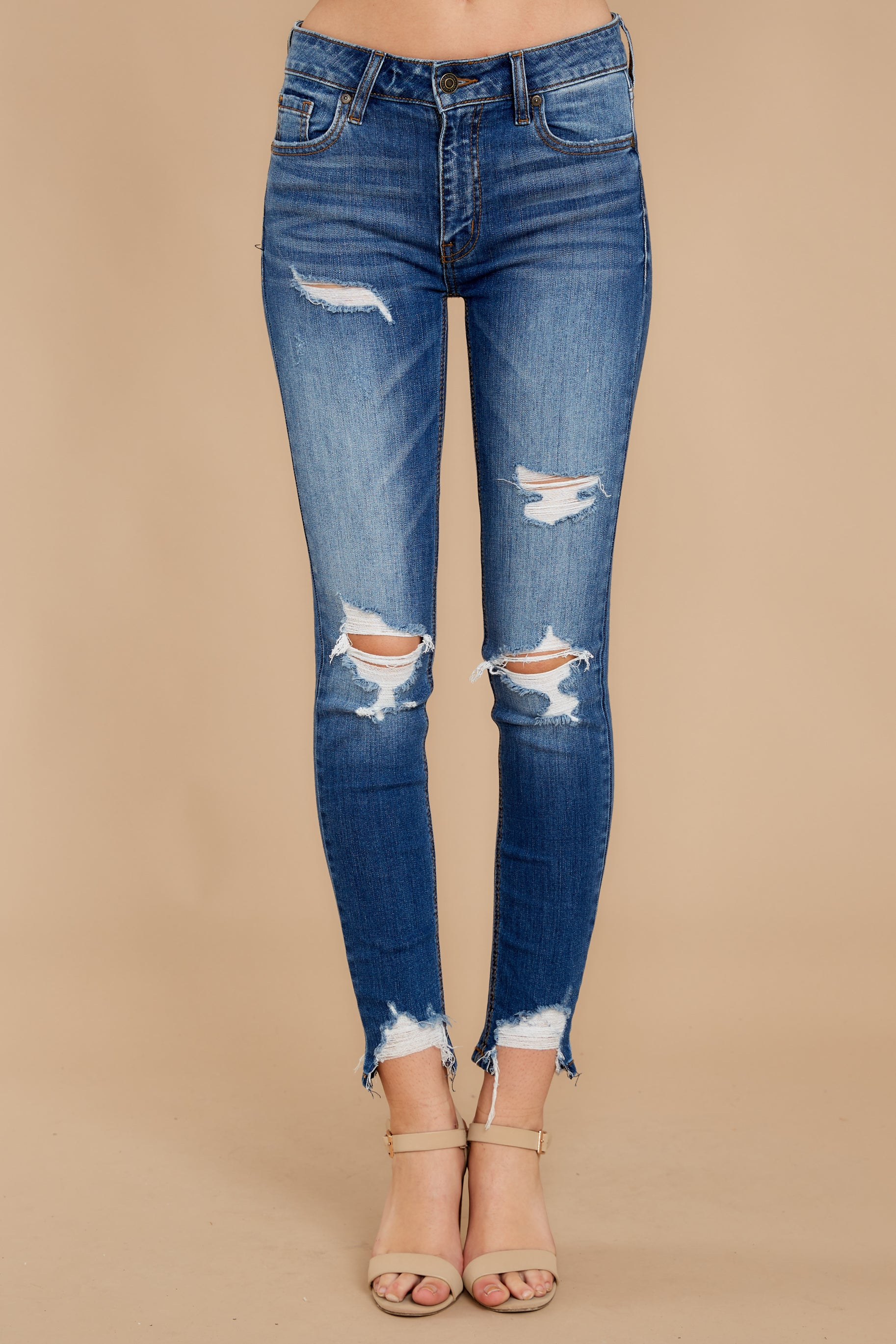 2 Not Going Back Medium Wash Distressed Skinny Jeans at reddress.com