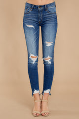 2 Not Going Back Medium Wash Distressed Skinny Jeans at reddressboutique.com