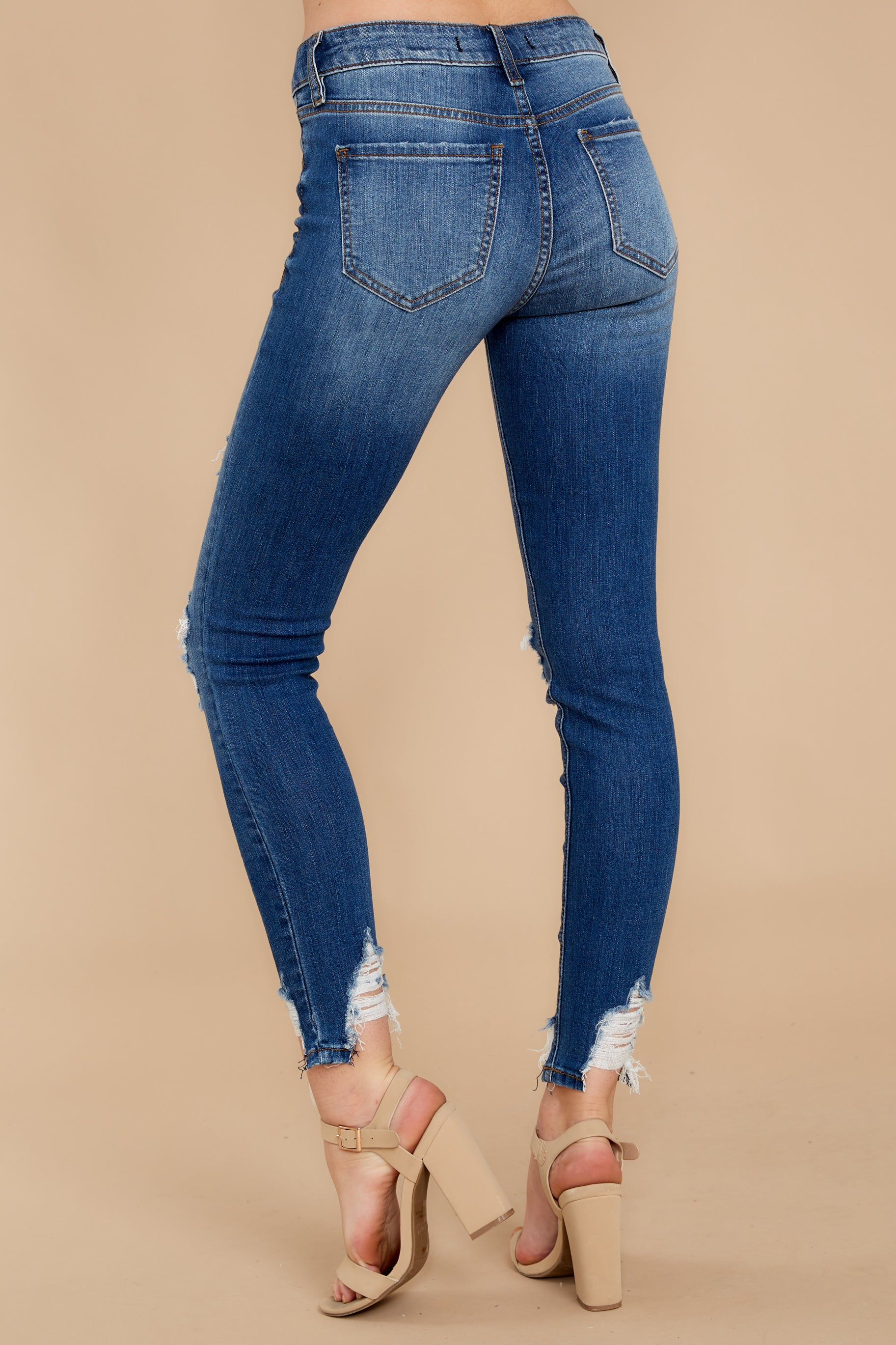 3 Not Going Back Medium Wash Distressed Skinny Jeans at reddress.com