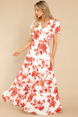 2 Radiating Confidence Orange And Ivory Floral Print Maxi Dress at reddress.com