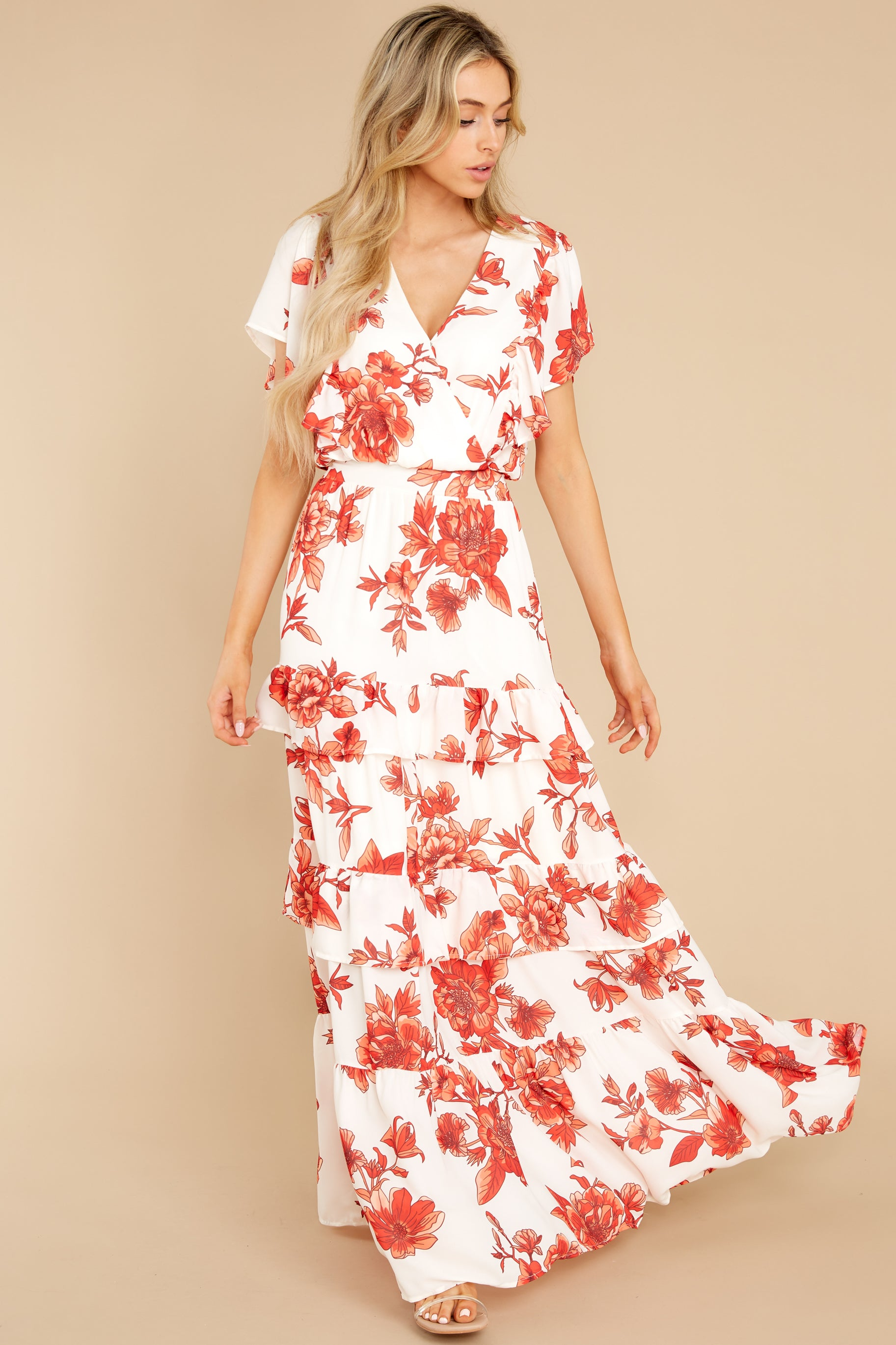 3 Radiating Confidence Orange And Ivory Floral Print Maxi Dress at reddress.com
