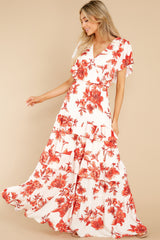 1 Radiating Confidence Orange And Ivory Floral Print Maxi Dress at reddress.com