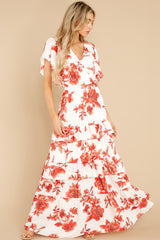4 Radiating Confidence Orange And Ivory Floral Print Maxi Dress at reddress.com