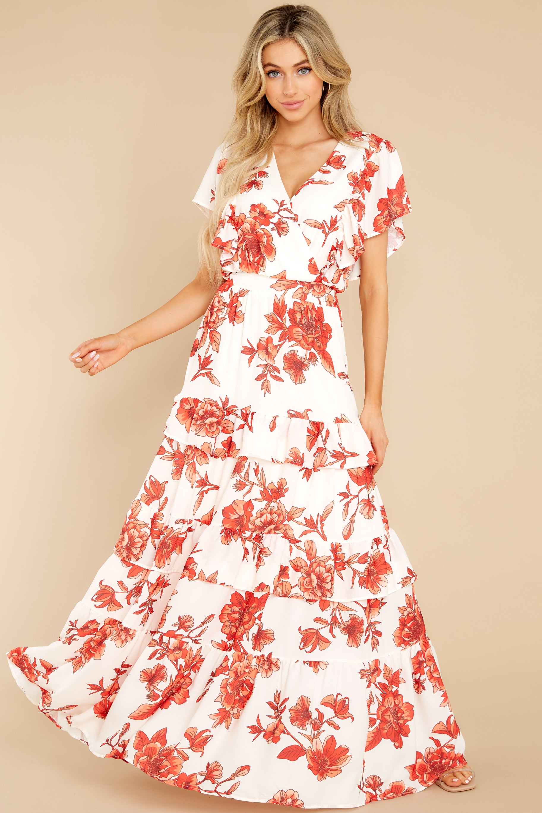 5 Radiating Confidence Orange And Ivory Floral Print Maxi Dress at reddress.com