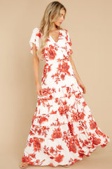 6 Radiating Confidence Orange And Ivory Floral Print Maxi Dress at reddress.com