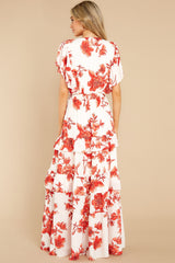 7 Radiating Confidence Orange And Ivory Floral Print Maxi Dress at reddress.com