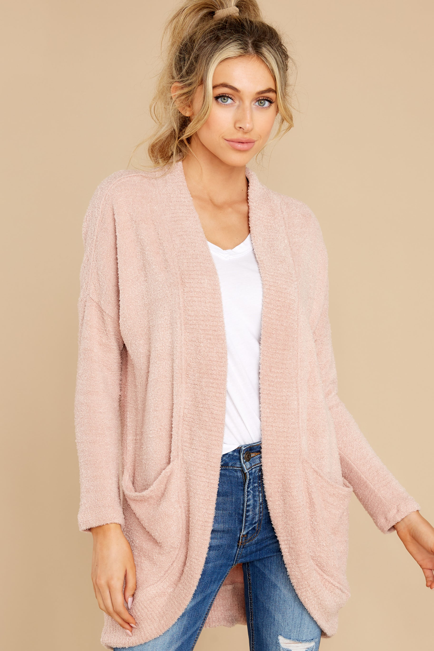 6 Kaye Silver Pink Feather Cardigan at reddress.com