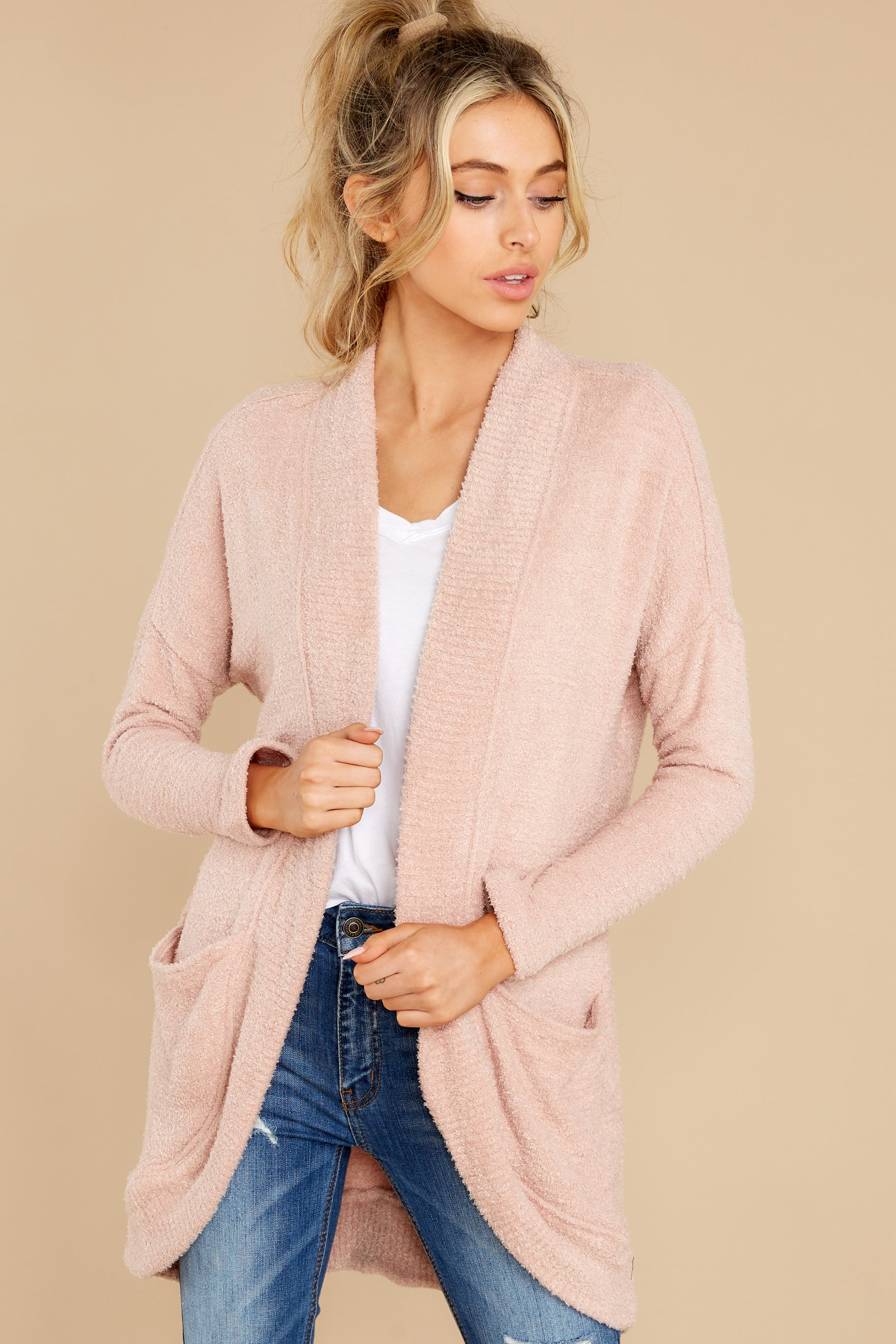 4 Kaye Silver Pink Feather Cardigan at reddress.com