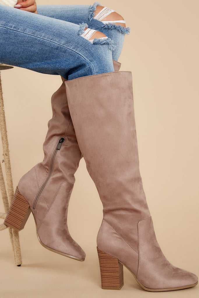 1 Found My Way To You Taupe Knee High Boots at reddress.com