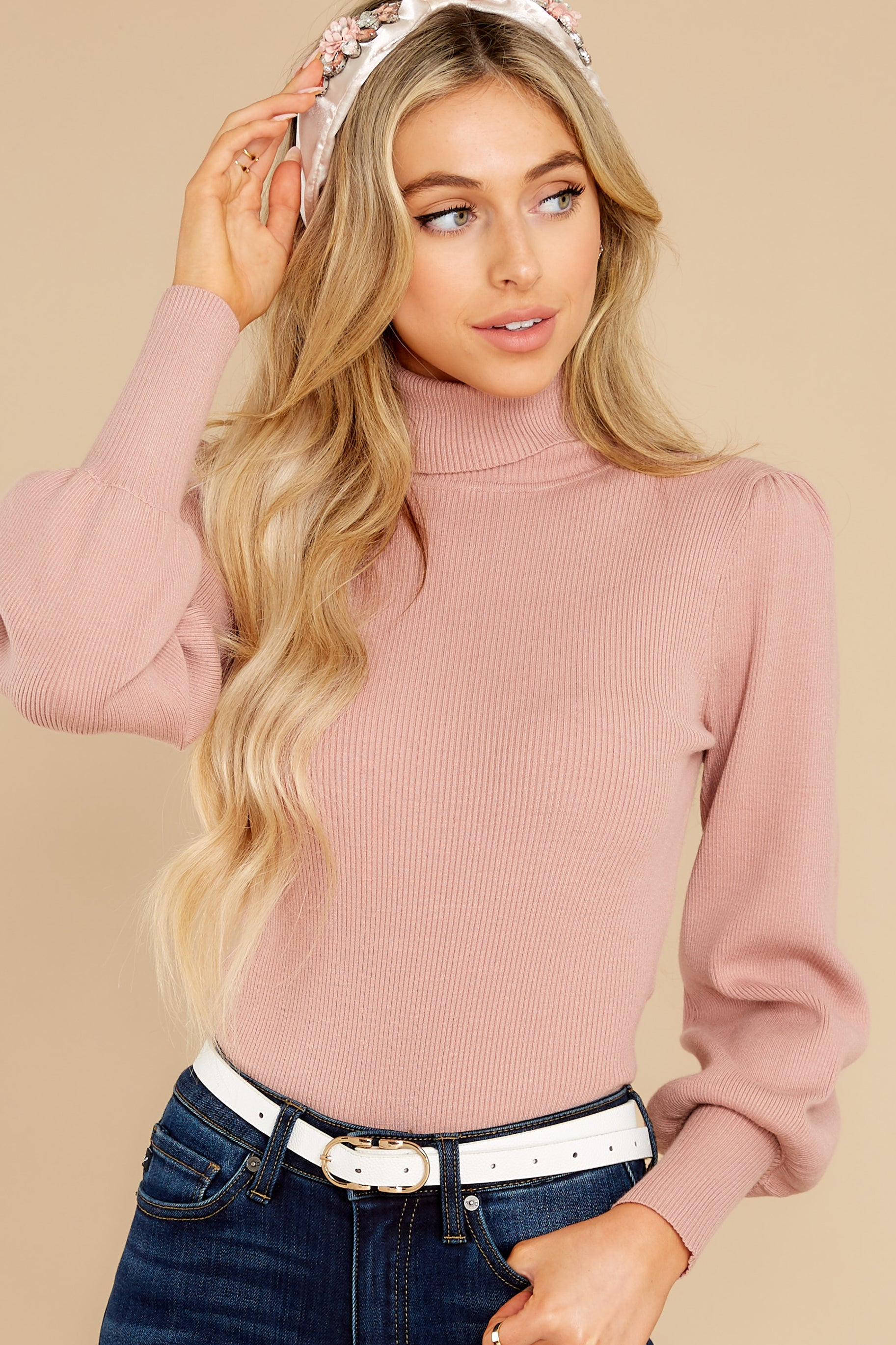 1 Waiting On Forever Mauve Blush Sweater at reddress.com