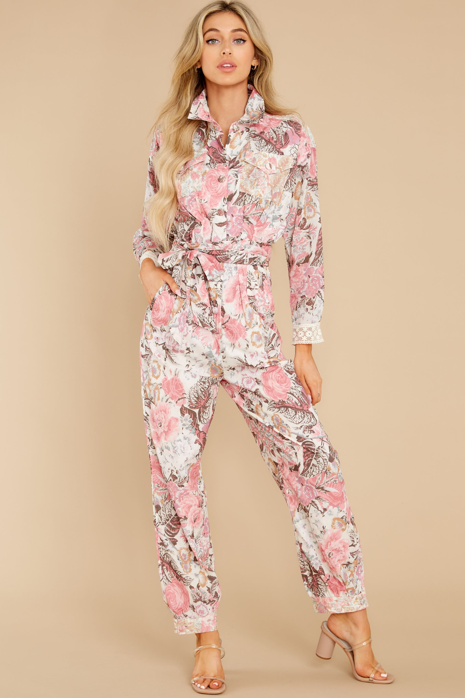 2 Morellia Dew Drops Corduroy Jumpsuit at reddress.com