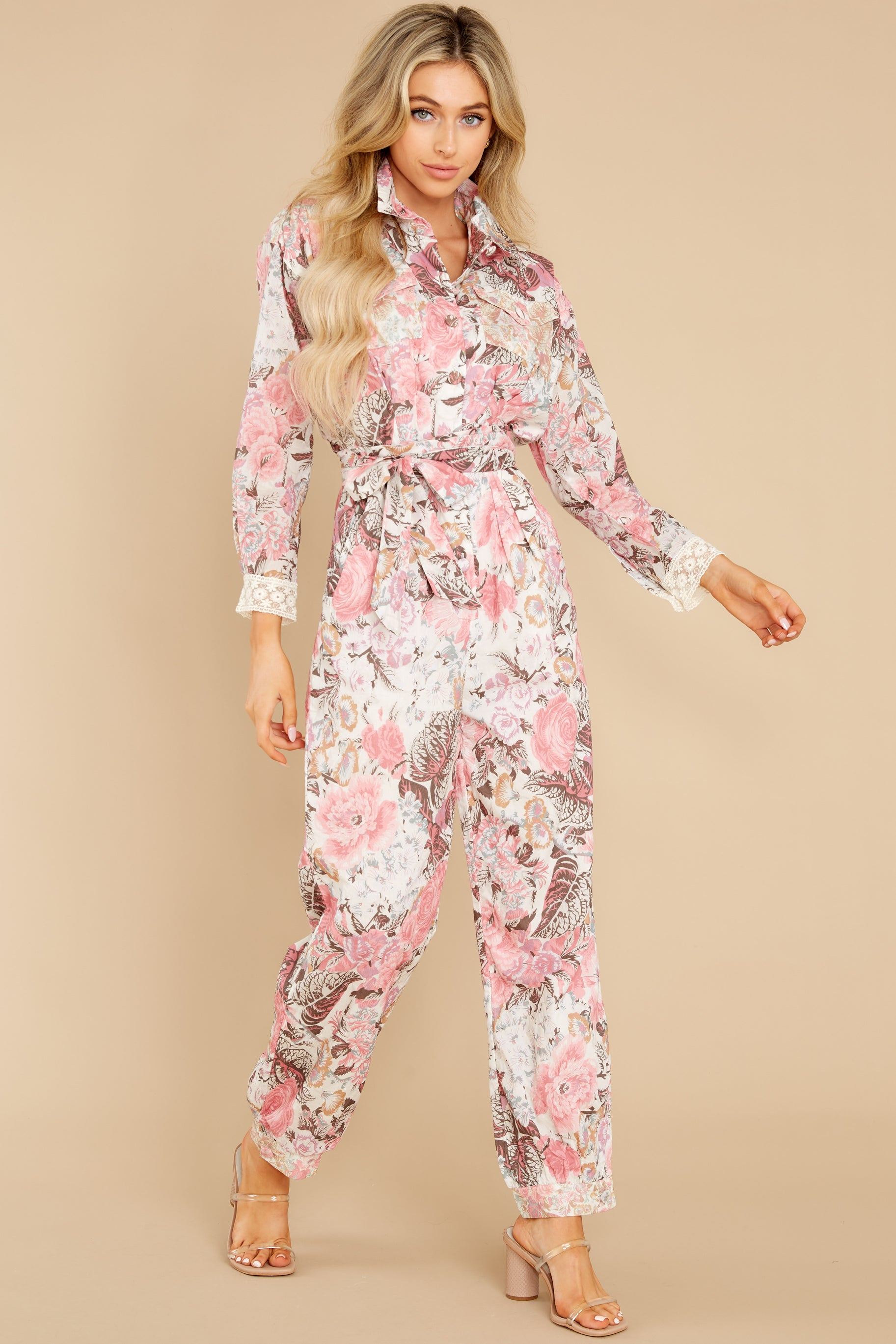 3 Morellia Dew Drops Corduroy Jumpsuit at reddress.com