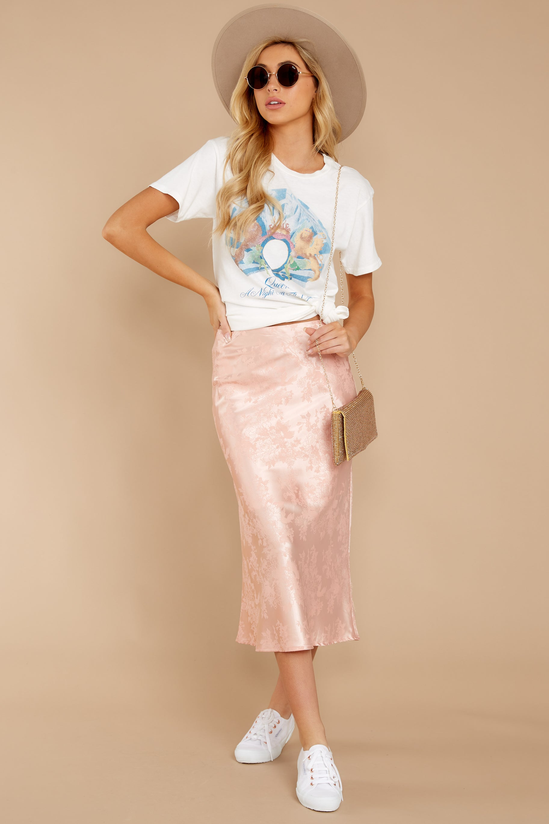 5 Graceful Sway Light Pink Midi Skirt at reddressboutique.com