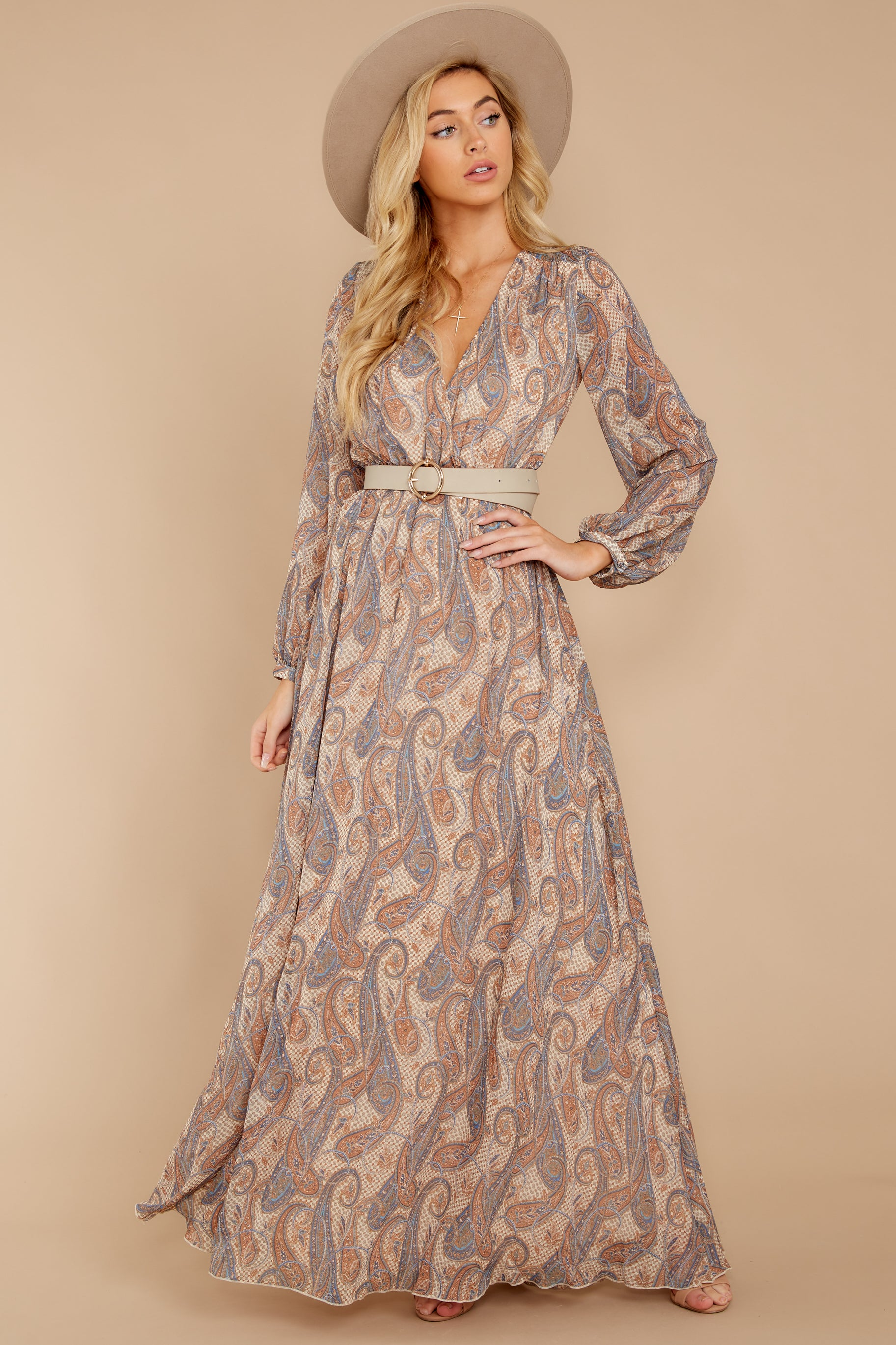 2 Forgotten Story Taupe Paisley Print Maxi Dress at reddressboutique.com