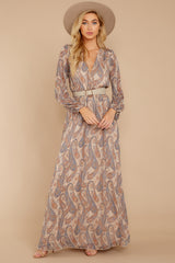 3 Forgotten Story Taupe Paisley Print Maxi Dress at reddressboutique.com