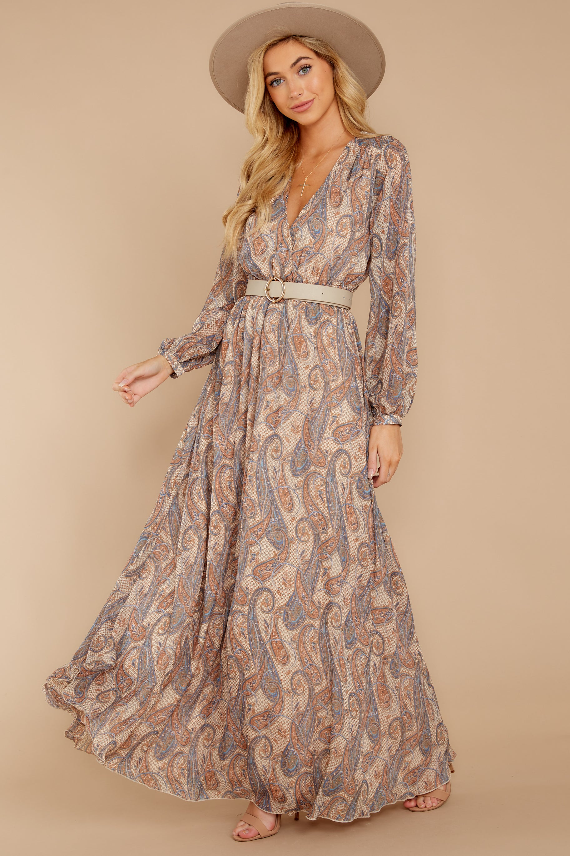 4 Forgotten Story Taupe Paisley Print Maxi Dress at reddressboutique.com