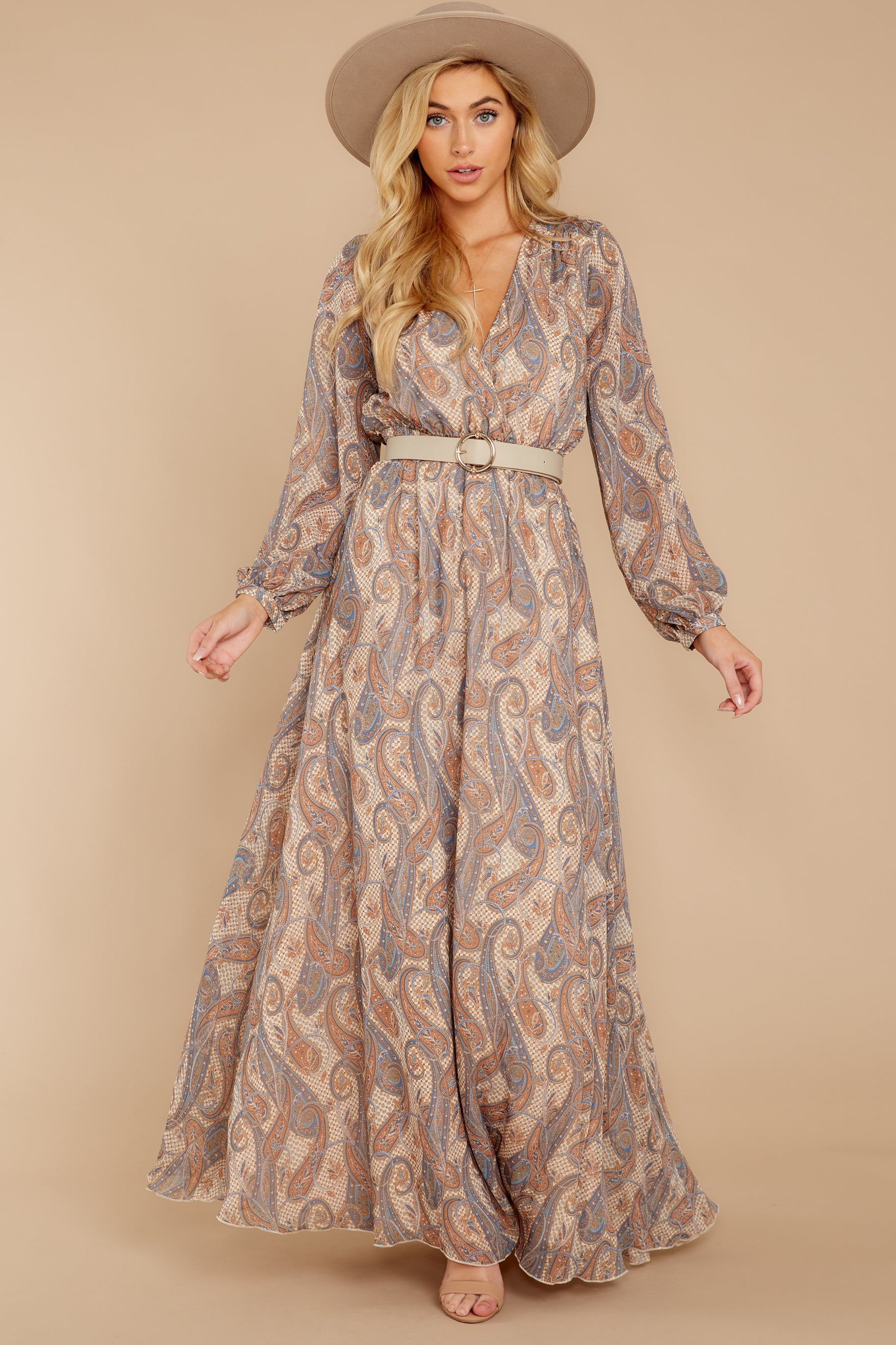 5 Forgotten Story Taupe Paisley Print Maxi Dress at reddressboutique.com