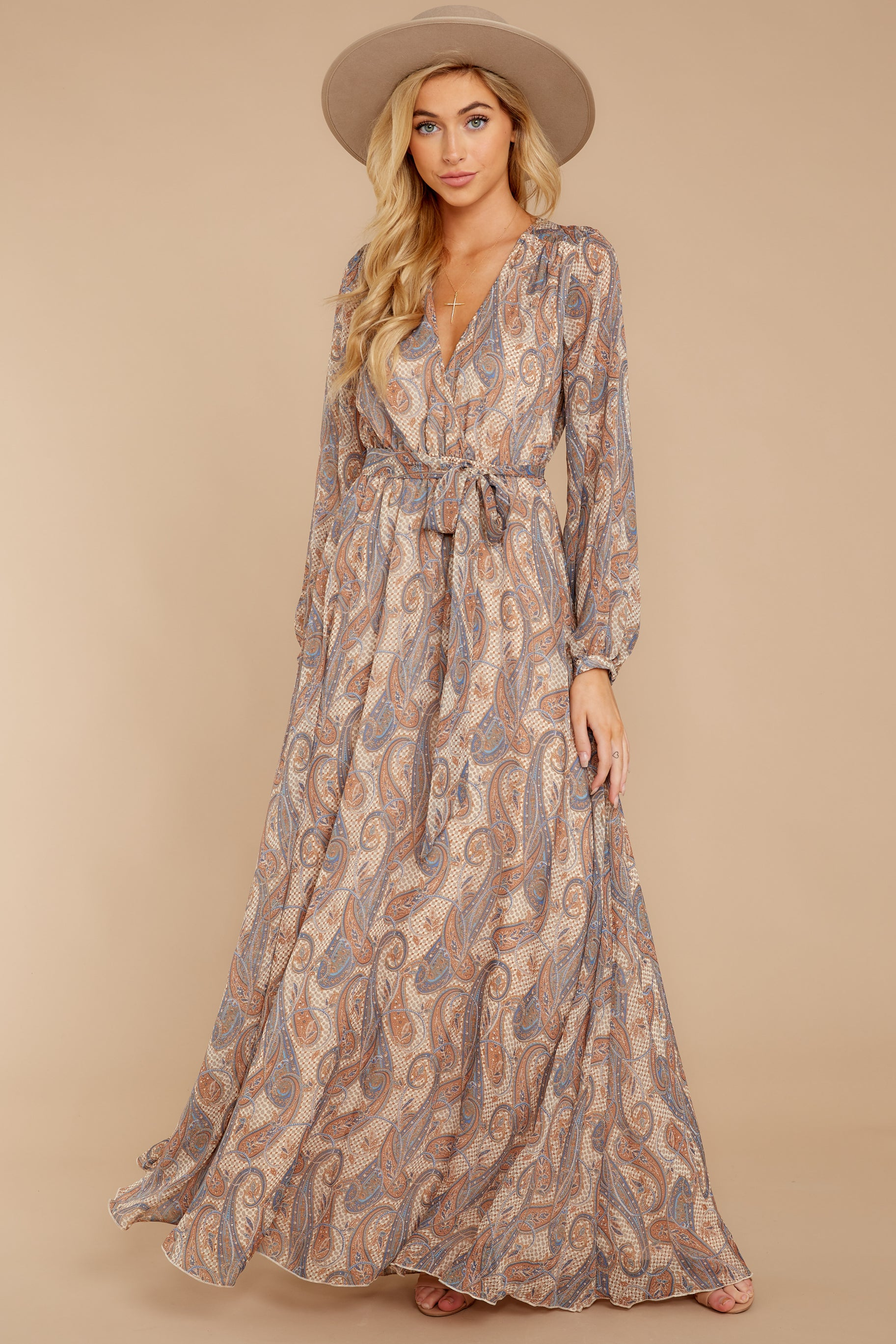 6 Forgotten Story Taupe Paisley Print Maxi Dress at reddressboutique.com