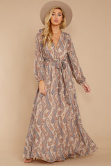 7 Forgotten Story Taupe Paisley Print Maxi Dress at reddressboutique.com