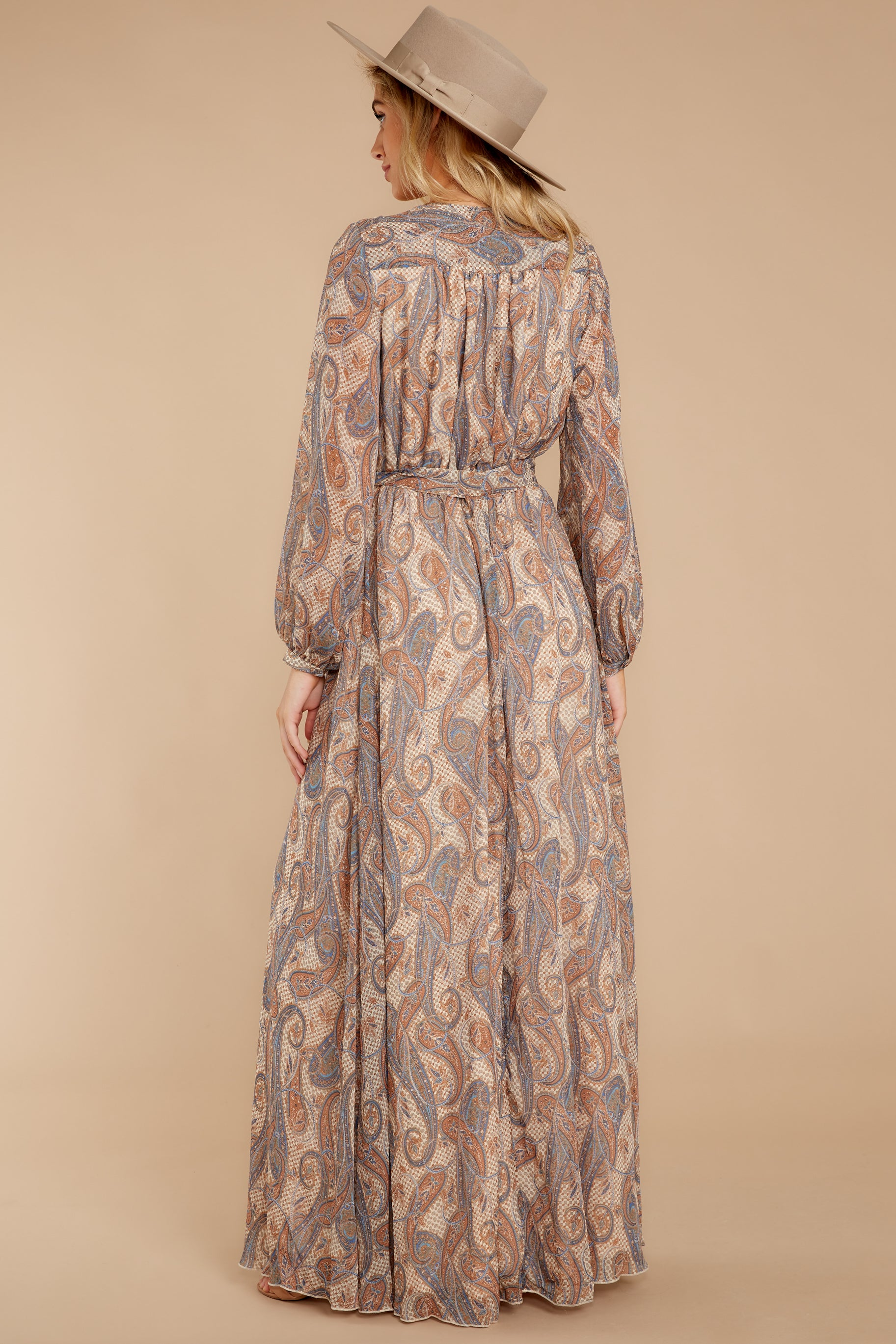 8 Forgotten Story Taupe Paisley Print Maxi Dress at reddressboutique.com