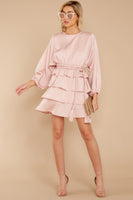 Belted Tiered Keyhole Round Neck Polyester Bishop Sleeves Dress With Ruffles