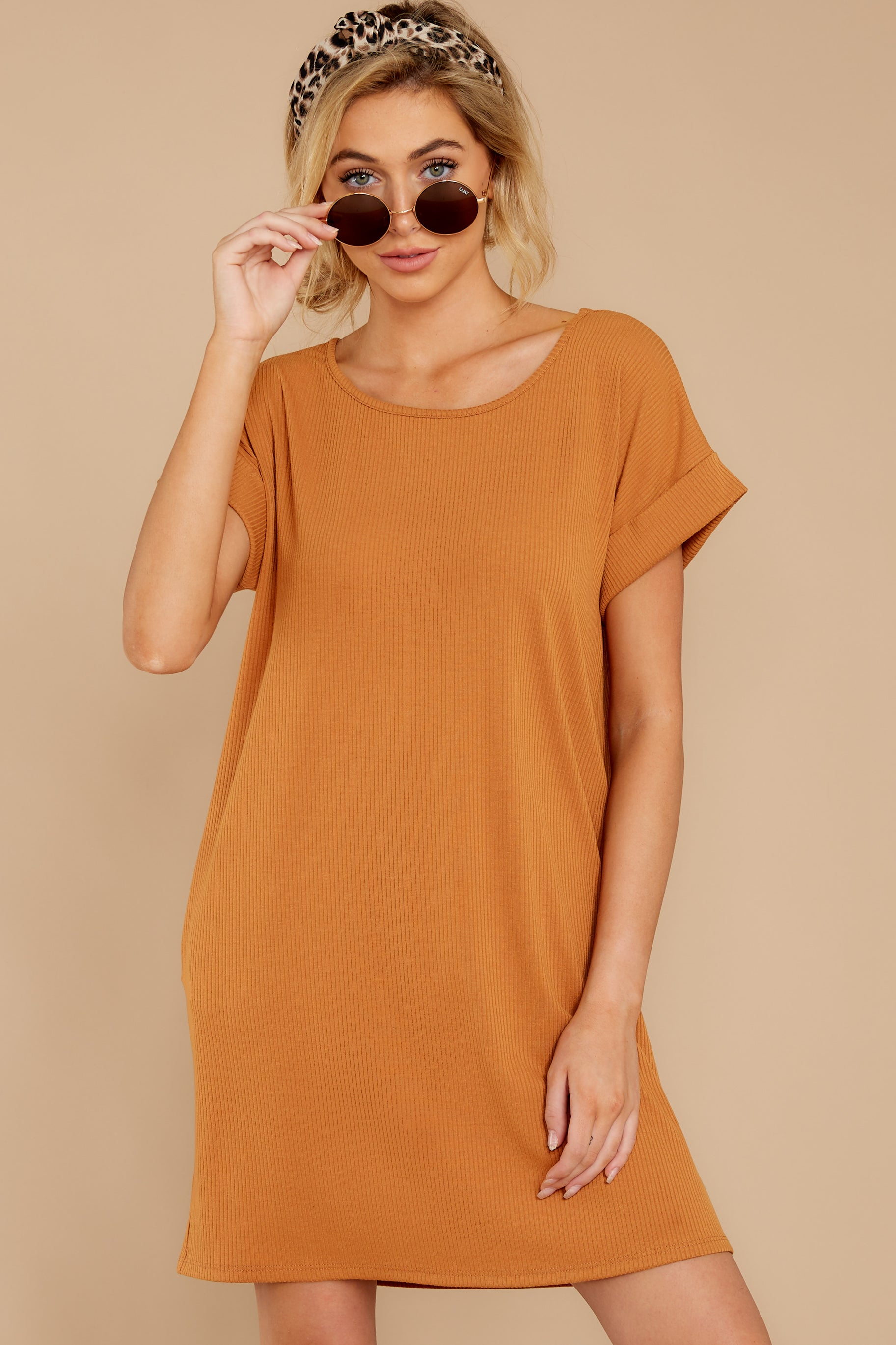 5 Anywhere She Goes Light Camel Dress at reddressboutique.com