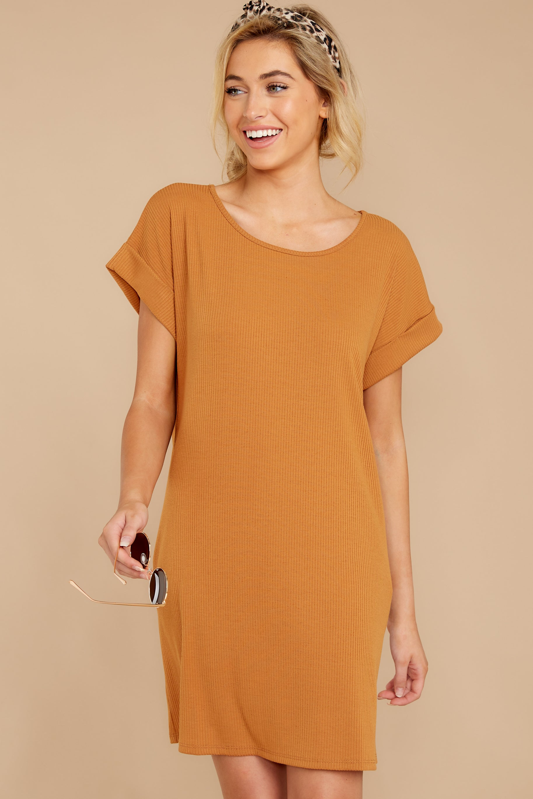 6 Anywhere She Goes Light Camel Dress at reddressboutique.com