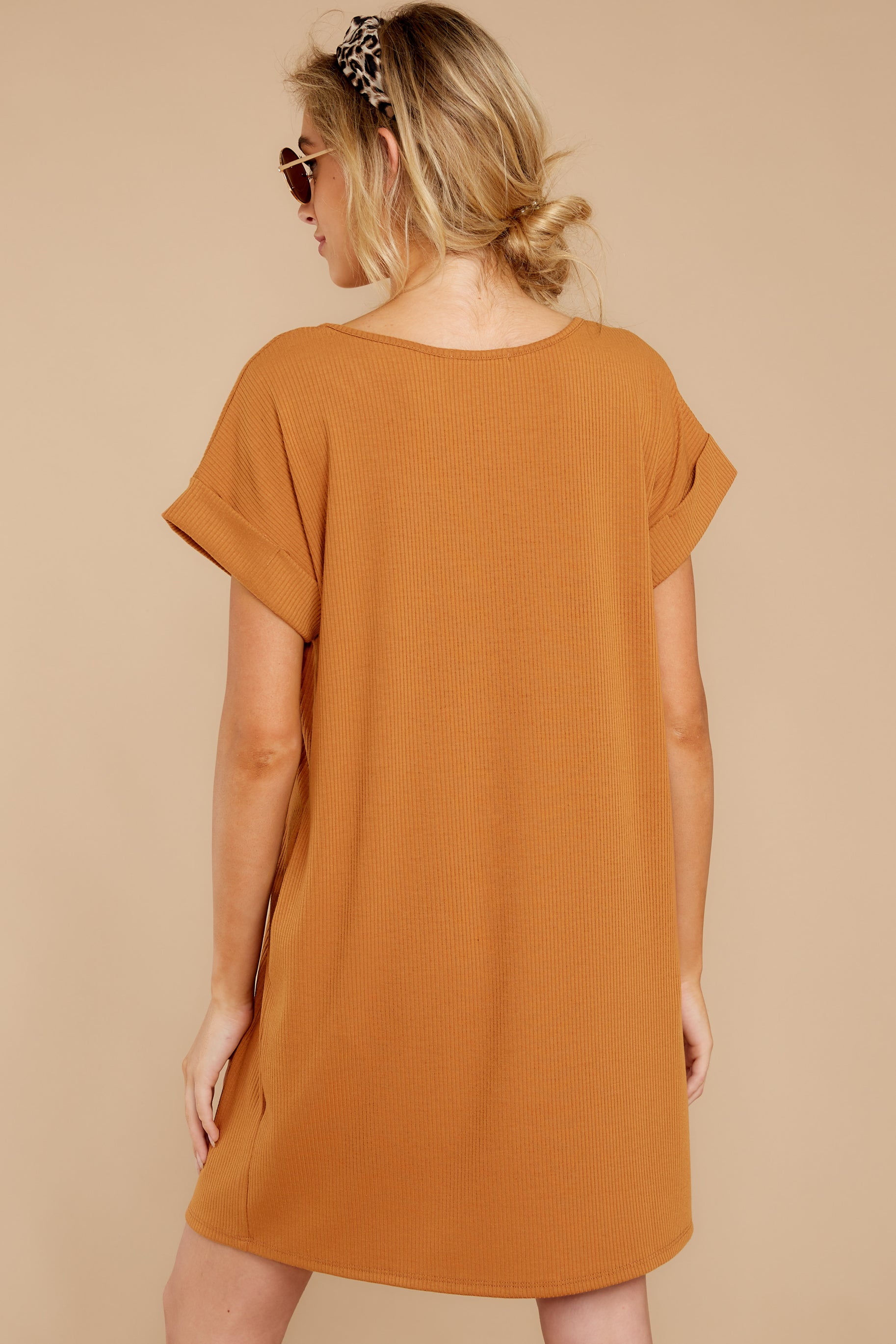 8 Anywhere She Goes Light Camel Dress at reddressboutique.com