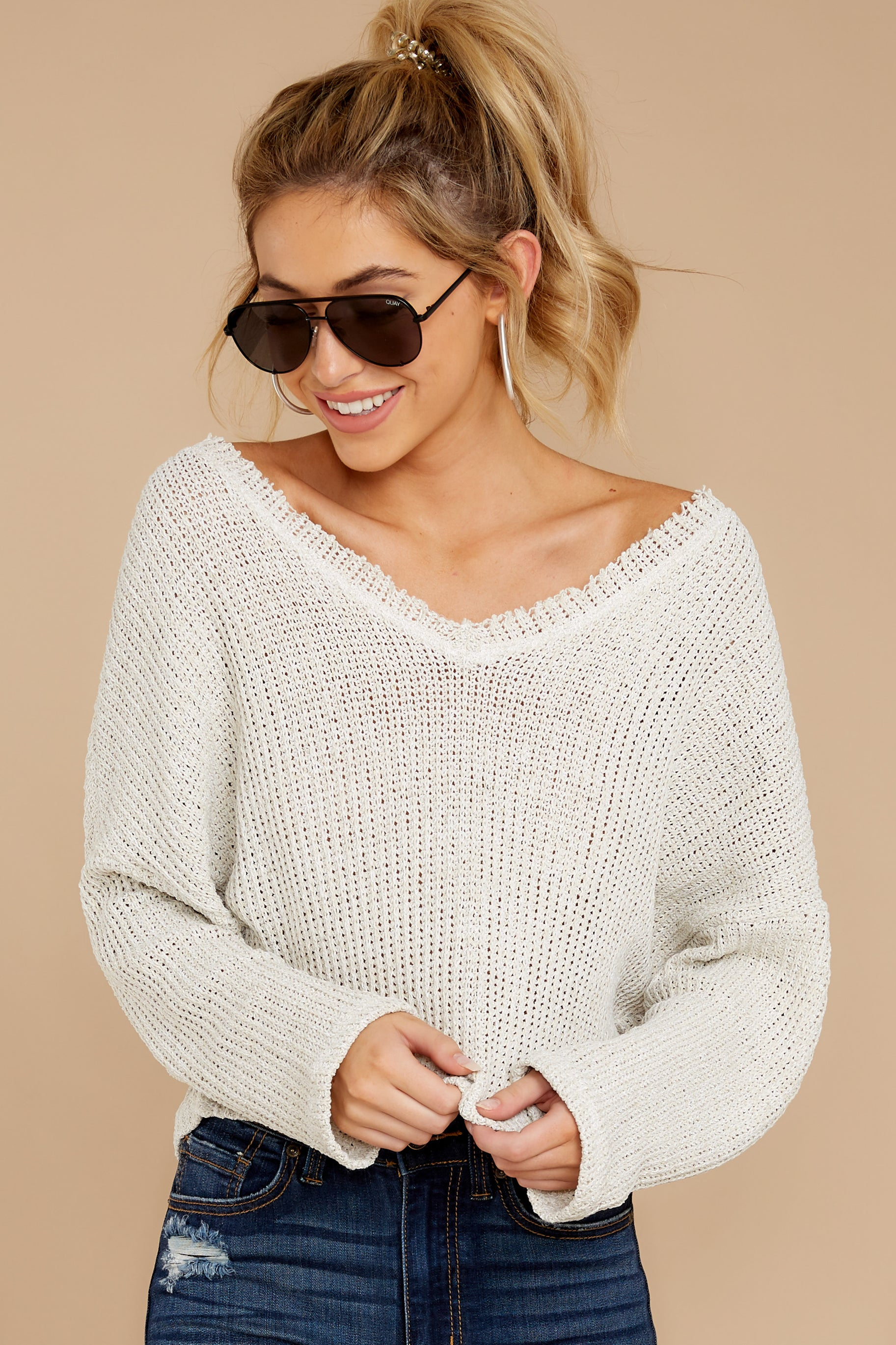 6 Know Your Options Oatmeal Sweater at reddressboutique.com