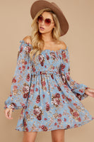 Fall Polyester Floral Print Square Neck Shirred Bishop Sleeves Dress With a Sash and Ruffles