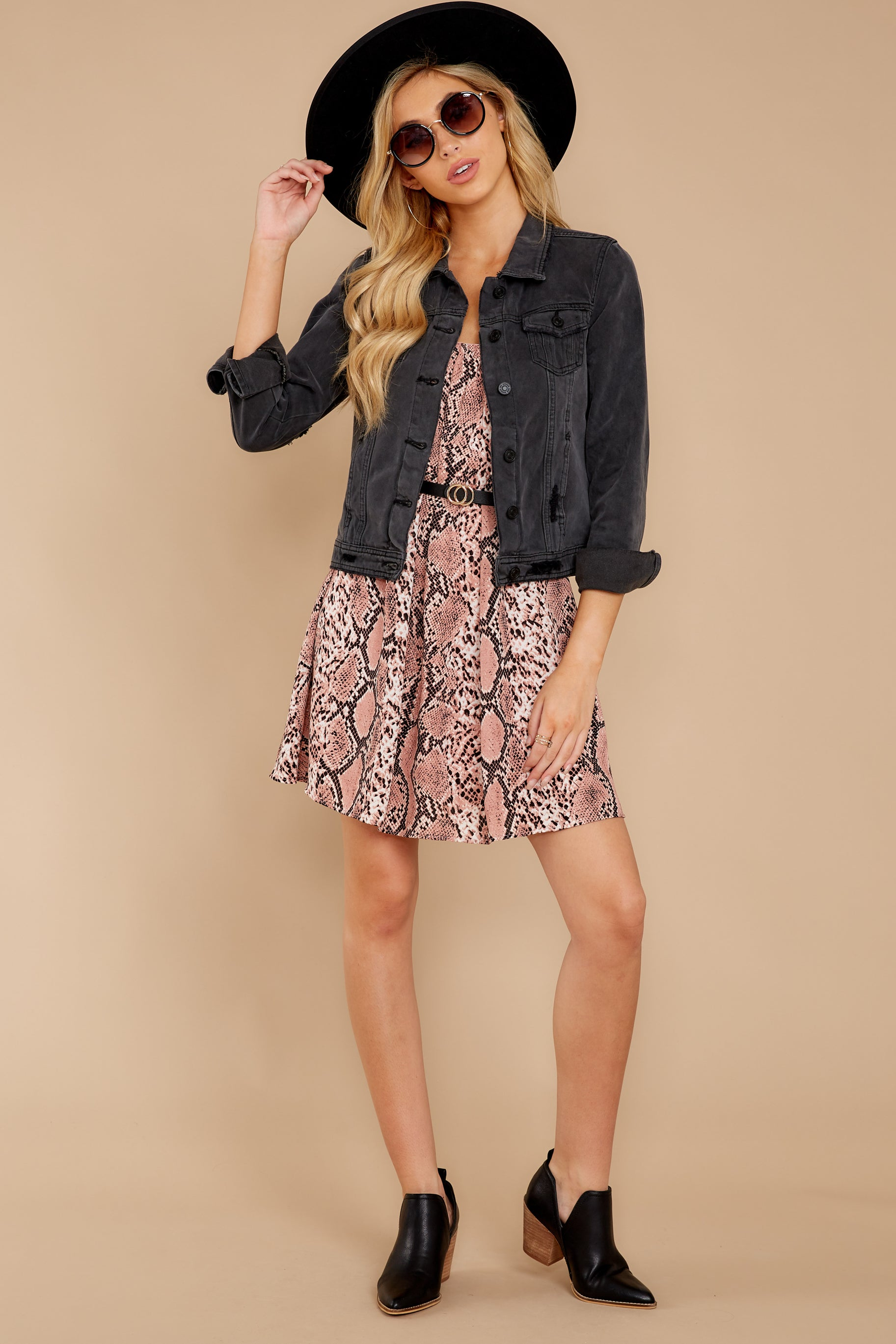 1 Step Off The Plane Faded Black Denim Jacket at reddress.com