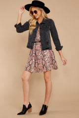 7 Step Off The Plane Faded Black Denim Jacket at reddress.com