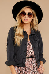 3 Step Off The Plane Faded Black Denim Jacket at reddress.com