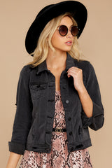 4 Step Off The Plane Faded Black Denim Jacket at reddress.com