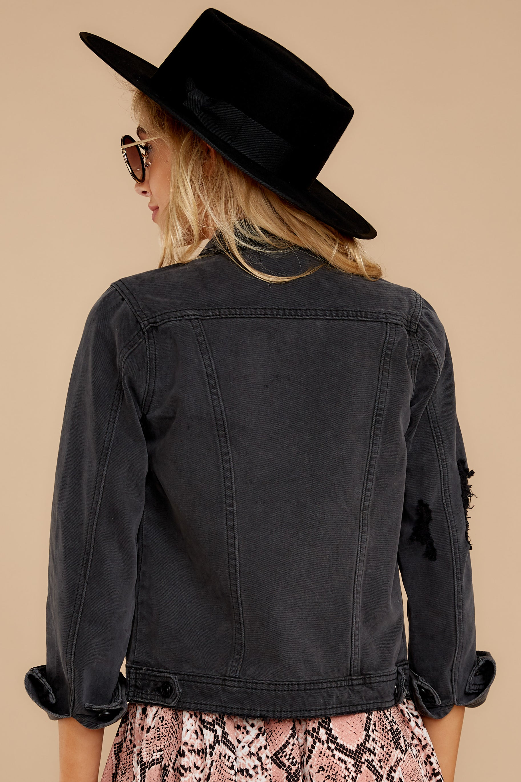 5 Step Off The Plane Faded Black Denim Jacket at reddress.com